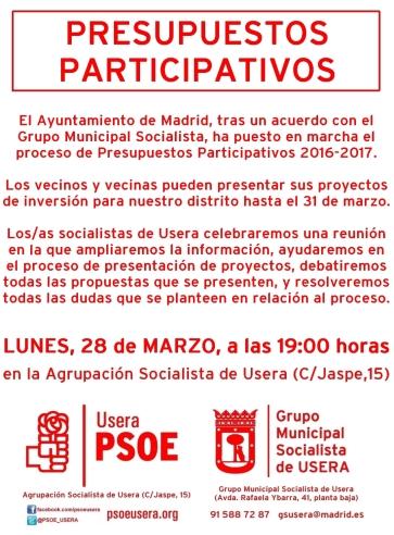 Presupuestos Participativos PSOE Usera